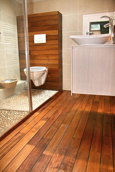 parquet en teck. interesting exotic wood deck boards teck design ... - Pose Parquet Pont De Bateau Salle De Bain